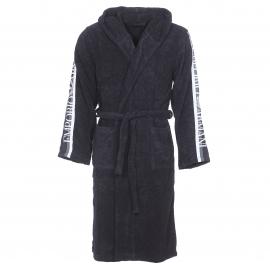 Peignoir de bain Emporio Armani noir à capuche brodé sur les manches
