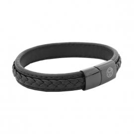 Bracelet Lucléon semi rigide noir à motif tressé