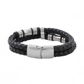 Bracelet Lucléon doublé en cuir noir tressé et pièces argentées