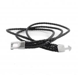 Bracelet Lucléon à 3 liens tressés en cuir noir
