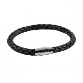 Bracelet Lucléon en cuir tressé noir