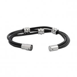 Bracelet Lucléon à 3 liens en cuir noir et pièces métalliques argentées