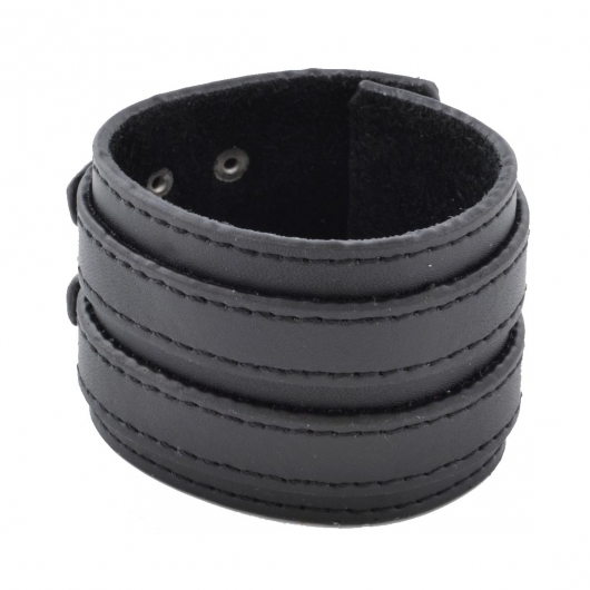 Large Bracelet Lucléon en cuir noir à double fermeture