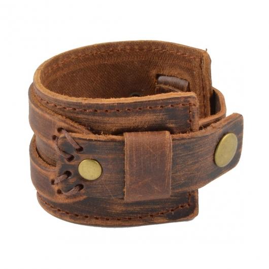 Large Bracelet Lucléon en cuir marron patiné