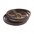 Bracelet Lucléon à multiples liens en cuir marron ajustable