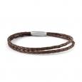 Bracelet Lucléon à double lien torsadé en cuir marron foncé
