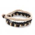 Set de 3 bracelets Lucléon en perles noires, marron et beiges et coton beige
