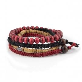 Set de 4 bracelets Lucléon en perles de bois bordeaux, en lanières noires et bordeaux et en perles de noix de coco