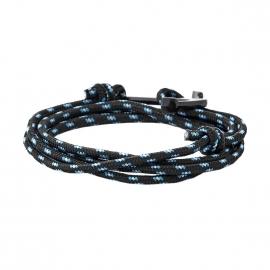 Bracelet Lucléon noir à motifs turquoise et blancs fermé par une ancre noire