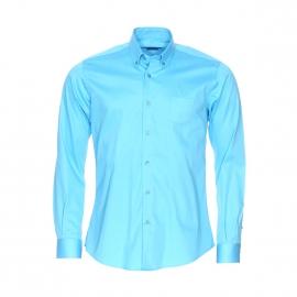 Chemise cintrée Méadrine en coton bleu turquoise satiné