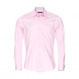 Chemise cintrée Méadrine en coton rose pâle satiné à opposition gris clair