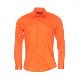 Chemise cintrée Méadrine en coton orange satiné
