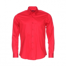 Chemise cintrée Méadrine en coton rouge satiné
