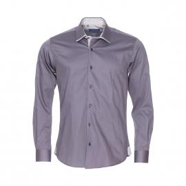 Chemise cintrée Méadrine en coton gris satiné à opposition grise et blanche à rayures et petits motifs