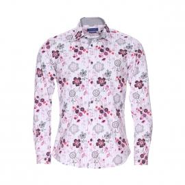 Chemise cintrée Méadrine en coton blanc à fleurs violettes et roses et rayures grises
