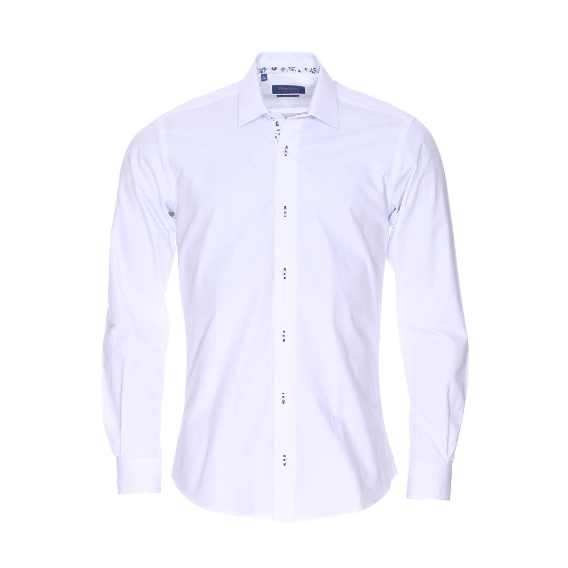 chemise cintr e m adrine en coton blanc bande blanche motifs bleu marine l 39 int rieur du col. Black Bedroom Furniture Sets. Home Design Ideas