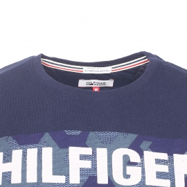 Tee-shirt col rond Hilfiger Denim en coton flammé bleu marine floqué