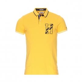 Polo Hilfiger Denim en piqué de coton jaune brodé
