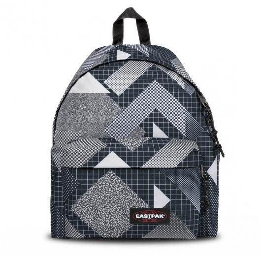 sac dos padded pak 39 r eastpak noir motifs g om triques blancs et gris rue des hommes. Black Bedroom Furniture Sets. Home Design Ideas