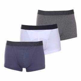 Lot de 3 boxers ouverts HO1 Hom en coton stretch gris foncé, bleu marine et blanc