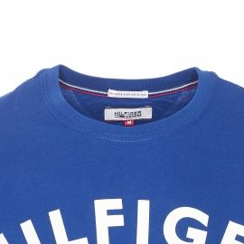 Tee-shirt col rond Hilfiger Denim en coton bleu roi floqué en blanc