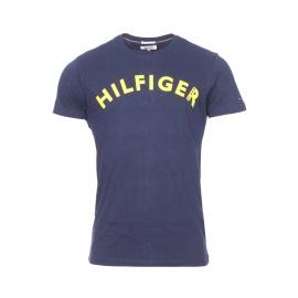 Tee-shirt col rond Hilfiger Denim en coton bleu marine floqué en jaune