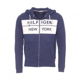 Sweat à capuche zippé Hilfiger Denim en éponge de coton bleu marine logotypé