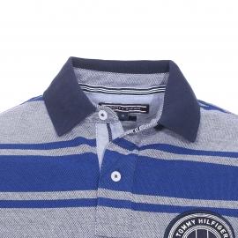 Polo cintrée Tommy Hilfiger en piqué de coton bleu à rayures bleu roi