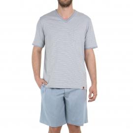 Pyjama court Eminence en jersey de coton : tee-shirt manches courtes col V à rayures grises, noires et blanches, bermuda gris