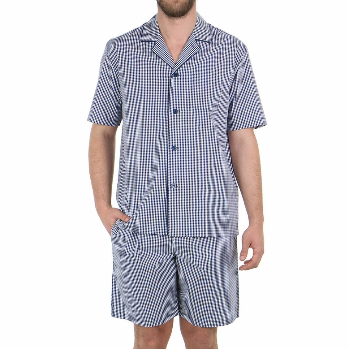 Pyjama court eminence en popeline de coton veste for Pyjama carreaux