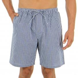 Pyjama court Eminence en popeline de coton : veste boutonnée manches courtes et bermuda à carreaux bleu marine et blancs
