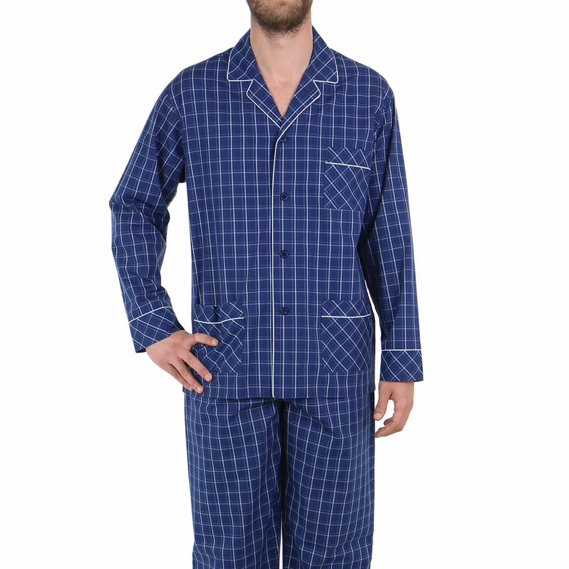 Pyjama long eminence en popeline de coton veste for Pyjama a carreaux
