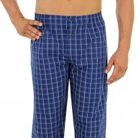 Pyjama long Eminence en popeline de coton : veste boutonnée manches longues et pantalon à carreaux bleu marine à carreaux bleu ciel