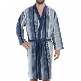 Peignoir de bain Eminence en coton à rayures bleu jean, bleu marine, gris clair et grises