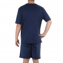 Pyjama court Eminence en coton mercerisé : tee-shirt manches courtes col rond côtelé et bermuda bleu marine