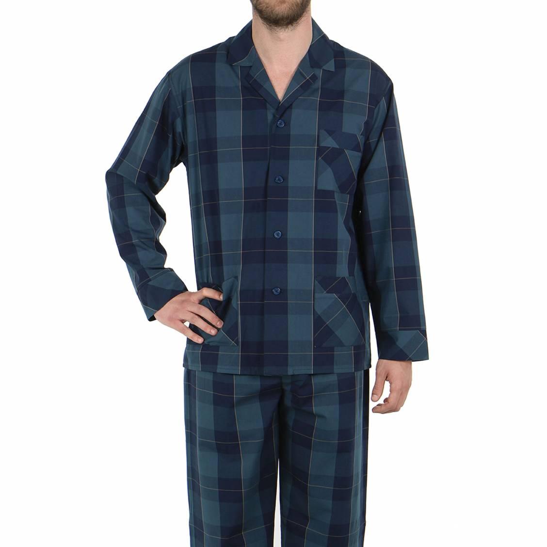 pyjama long eminence en popeline de coton veste boutonn e et pantalon carreaux bleu marine. Black Bedroom Furniture Sets. Home Design Ideas