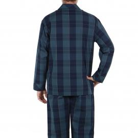 Pyjama long Eminence en popeline de coton : veste boutonnée et pantalon à carreaux bleu marine et gris