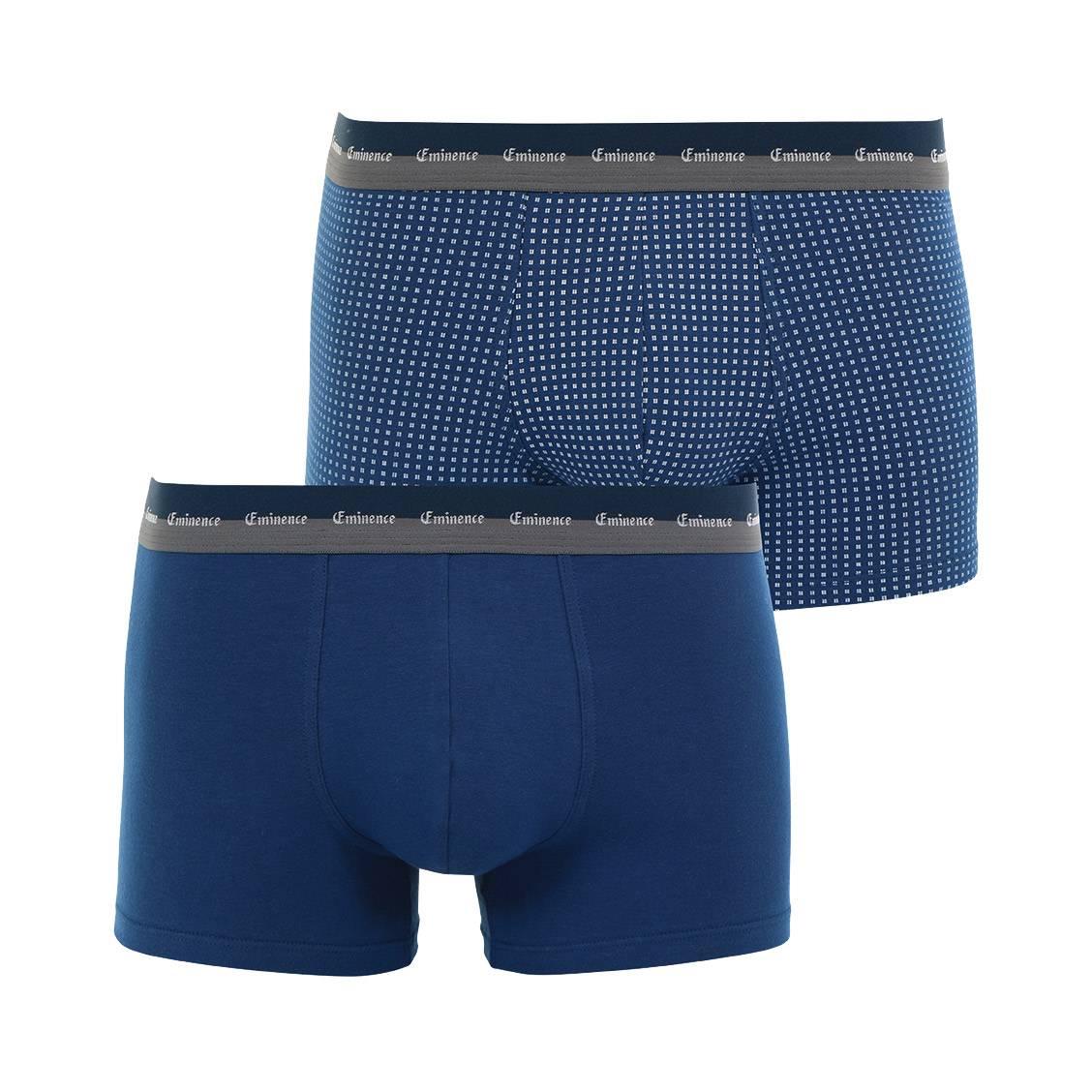 lot de 2 boxers eminence en jersey de coton stretch bleu. Black Bedroom Furniture Sets. Home Design Ideas
