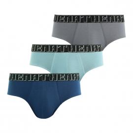 Lot de 3 slips Athena taille basse en jersey de coton stretch gris, bleu marine et gris bleu