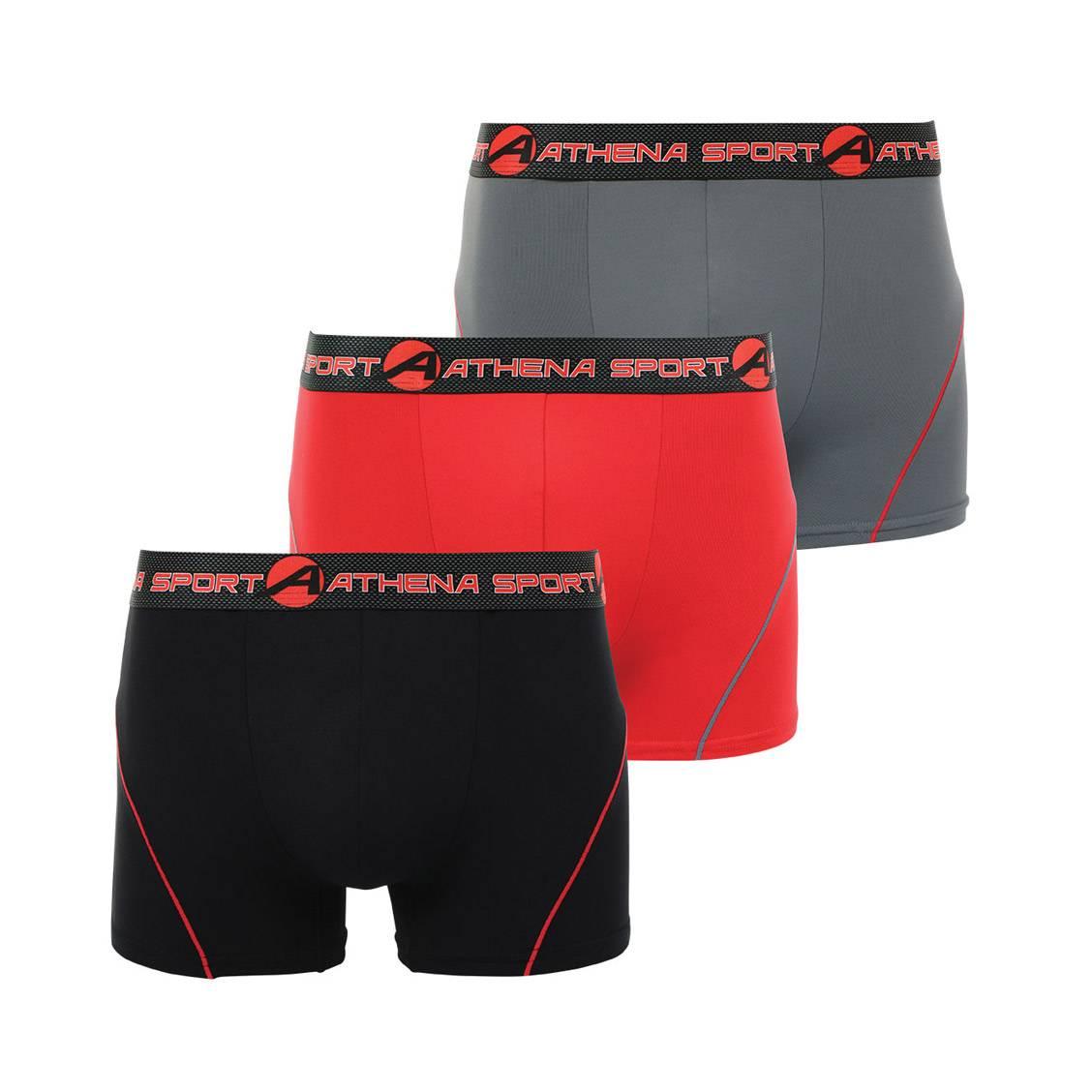 Lot de 3 boxers Athena Sport en microfibre respirante noire, grise et rouge. Lot de 3 boxers Athena Sport en microfibre respirante noire, grise et rou