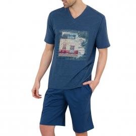 Pyjama court Athena Denim en jersey de coton : tee-shirt col V bleu chiné effet jean à imprimé et bermuda bleu