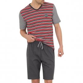 Pyjama court Athena en coton : tee-shirt col V à rayures blanches, anthracite et rouges, bermuda gris anthracite