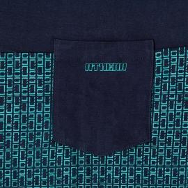 Pyjama court Athena en jersey de coton : tee-shirt col tunisien bleu marine à motifs bleu turquoise, bermuda bleu marine