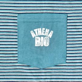 Pyjama court Athena en coton biologique : tee-shirt col tunisien bleu turquoise à rayures blanches et bleu marine, bermuda bleu turquoise