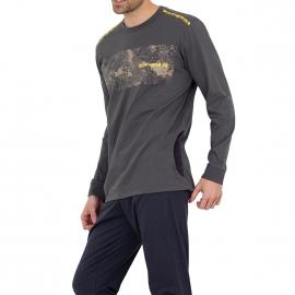 Pyjama long forme jogging Athena en jersey de coton : tee-shirt manches longues col rond gris à imprimé et pantalon anthracite