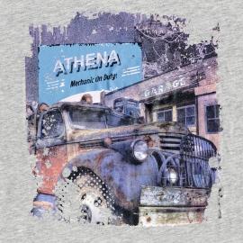 Pyjama long Athena Denim en jersey de coton : tee-shirt manches longues col rond gris chiné à imprimé et pantalon gris anthracite