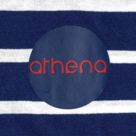 Pyjama long Athena en coton : tee-shirt manches longues col rond à rayures bleu marine et blanches, pantalon bleu marine