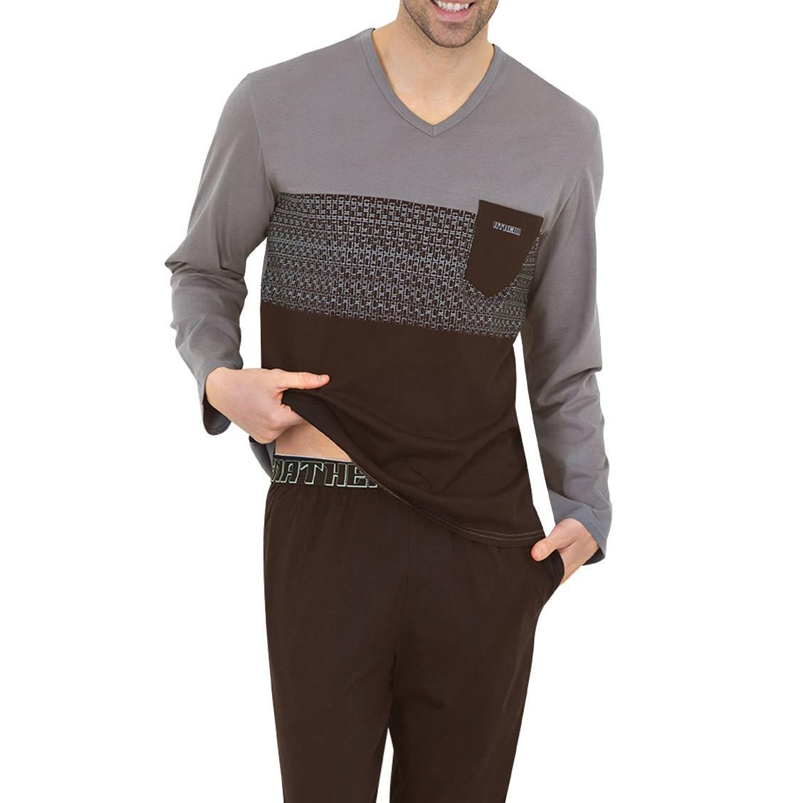 Pyjama long Athena en jersey de coton : tee-shirt manches longues col V gris et noir à motifs, pantalon noir