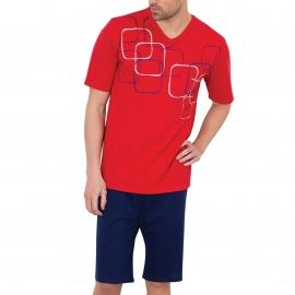 Pyjama court Athena en jersey de coton : tee-shirt col V rouge à motifs géométriques, bermuda bleu marine