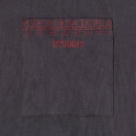 Pyjama long Athena en jersey de coton : veste boutonnée manches longues et pantalon gris anthracite